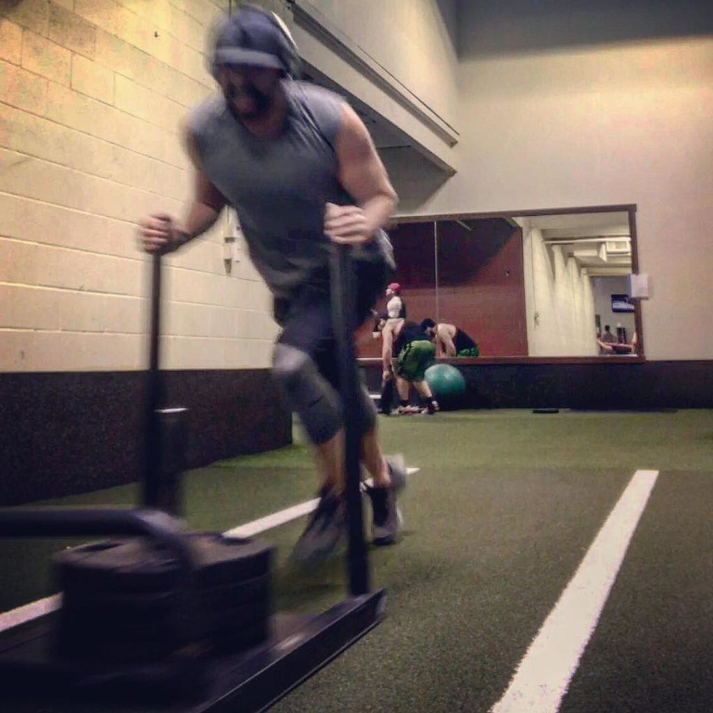 280lbs Sled sprints  seeing what was in my stomachhellip